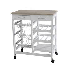 Kitchen Island With Drawers Amazon Com Home Basics Kt44136 Kitchen Trolley With 2 Drawers