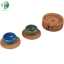 drink table rattan tea cup mats coaster drink table mat set round handmade