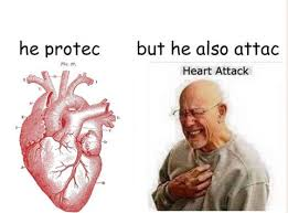 Heart Attack Meme - heart attack hnng he protec but he also attac know your meme
