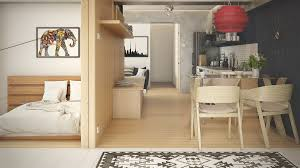 small studio apartments with beautiful design modern wood wall