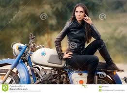 retro motorcycle jacket biker in leather jacket on retro motorcycle stock photo
