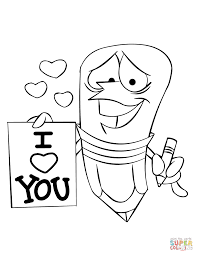 cartoon pencil character holding an i love you sign from st