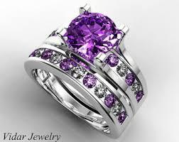 Purple Wedding Rings by Amethyst Wedding Set Etsy