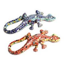 mosaic resin lizard of warm colours is a creature