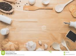 top view kitchen mockup rural kitchen utensils on wooden table