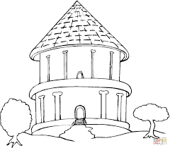 big round bungalow in the trees coloring page free printable