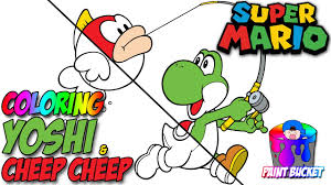 yoshi and cheep cheep coloring pages super mario coloring book