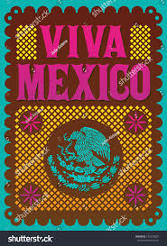 colorful vintage viva mexico mexican holiday stock vector