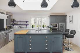 esher kitchen design with dark blue navy cabinets and white grey