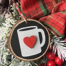 coffee ornament coffee ornament wood slice ornament