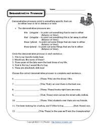 demonstrative pronouns pronoun worksheets worksheets and sentences