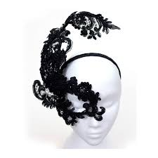 unique masks unique designer black lace one eye headband mask