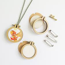 1 6 mini embroidery hoop necklace and brooch kit 3 pack