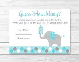 baby shower guessing teal elephant guess how many baby shower candy guessing