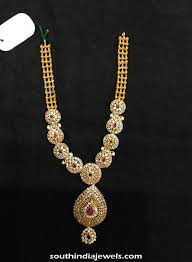 necklace designs with stones images Designer gold stone necklace south india jewels jpg