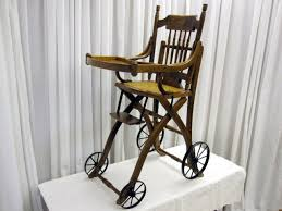 Antique Wood High Chair Antique High Chair Converts To Stroller Mint Condition For Sale