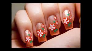 super easy cute peach flower nail art design tutorial youtube