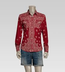 gucci printed slim shirt in red for men lyst
