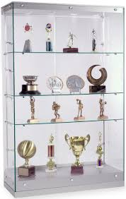 merchandise display case glass showcases with 5 shelves frameless design