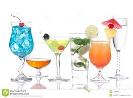 cockails variation cognac martini mojito stock image image