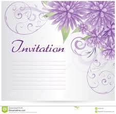 invitation template blank with purple abstract flowers stock