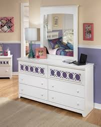 Girls White Bedroom Dresser With Mirror Roundhill Furniture