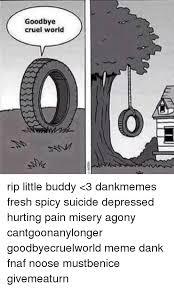 Depressed Drinking Meme - goodbye cruel world rip little buddy 3 dankmemes fresh spicy