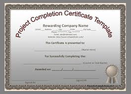 project completion certificate template templatform com