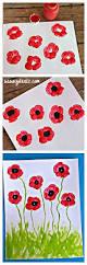 fingerprint poppy flower craft for kids summer veteransday