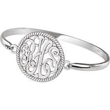 monogram bracelet sterling silver sterling silver 28 mm monogram bangle bracelet j m jewelry