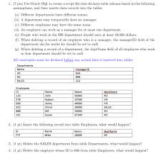 hr schema tables data 1 7 pts use oracle sql to create a script file chegg com