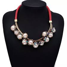 red chain necklace images Pearl red chain neckpiece statement necklace ireland ie jpg
