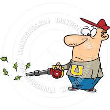 cartoon man leaf blower by ron leishman toon vectors eps 11349