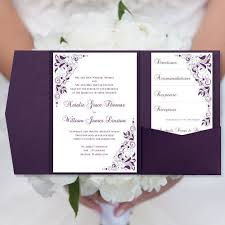 purple wedding invitations diy pocketfold wedding invitations eggplant purple