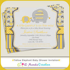 elephant baby shower invitations yellow and gray elephant baby shower invitation