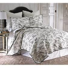 Black And White Toile Duvet Cover Amazon Com Black Toile Full Queen Quilt Set Black White Home