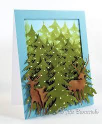 deer trio and evergreens kittiekraft
