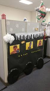 polar express decorating cubicles at work for