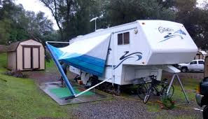 Trailer Awning Rv Wheel Life Blog Archive Up Goes The New Rv Awning With The