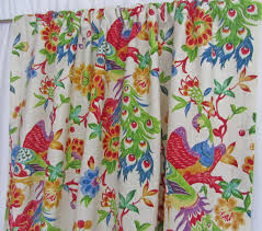 Blue Bird Home Decor Bright Bird Curtains Red Blue Green Bird Window Curtains