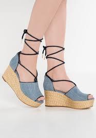 michael michael kors hastings wedge sandals washed denim women