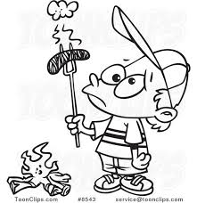cartoon black and white line drawing of a boy holding a burnt
