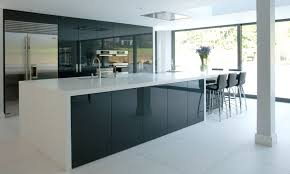 a contemporary kitchen with black brown cabinets high gloss white