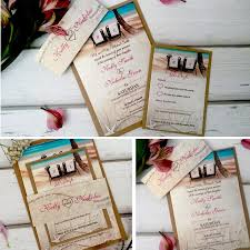 personalised beach wedding invitations with rsvp card u0026 brown