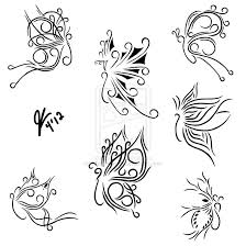 tribal butterfly tattoos design set