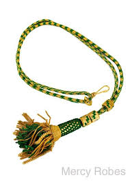 clergy cords bishop tassel pectoral cord green gold mercy robes