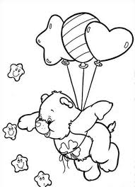 care bears fly using a balloon coloring pages for kids d5a