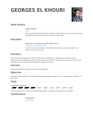waiter resume sample enjoyable design ideas waiter resume sample 14 head waiter resume