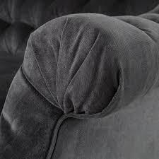 Tufted Sofa Velvet by Zandra Regency Charcoal Velvet Rolled Arm Tufted Sofa Kathy Kuo Home
