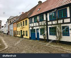 traditional european houses flensburg germany february 10 2017 old stock photo 578446783